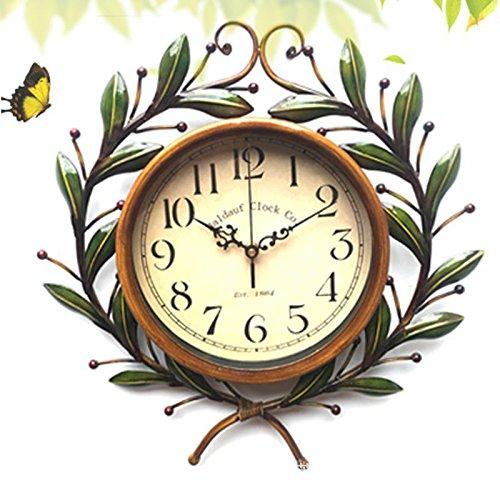 VariousWallClock Wall Clocks Wanduhr Uhren Wecker Uhr Haushalt Pendeluhr Eisen Garten idyllisch Auch die Zweige der kreativen Blatt Wohnzimmer Dekoration Uhren - Toskana-altes Eisen