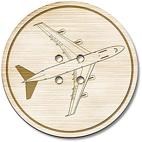 3 x 38mm 'Jumbo Jet' Large Round Wooden Buttons (BT00005220)
