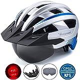 Victgoal Fahrradhelm MTB Mountainbike Helm mit abnehmbarem magnetischem Visier Abnehmbarer Sonnenschutzkappe und LED Rücklicht Radhelm Rennradhelm für Erwachsenen Herren Damen (Silver)