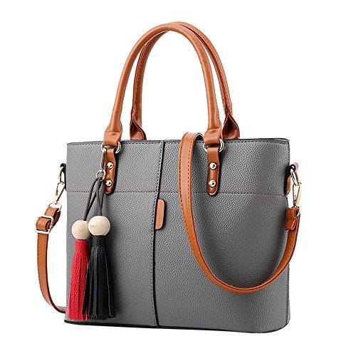 TianWlio Handtasche Damen Mode Quasten einfarbig Umhängetasche Schultertasche Messenger Bag Grau