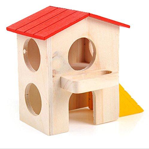 Anne porque hámster Ratones escondite House Deluxe Madera Cabaña Play Toys chews juguete