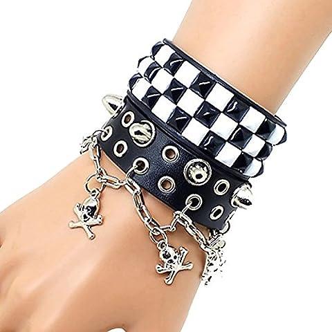 Dansuet Braccialetto di modo punk retr¨° unisex cranio di proiettile in pelle Rivet Studded Wristband, braccialetto di cuoio Wristband per le donne