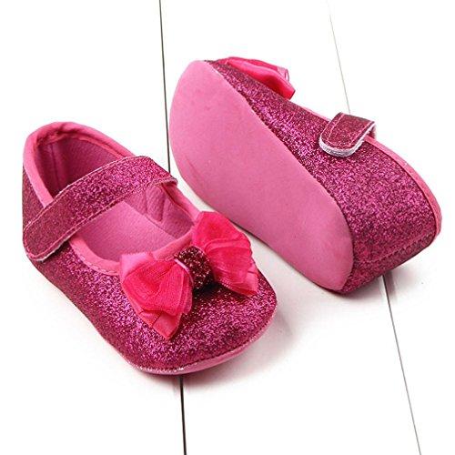BZLine® Kleinkind Mädchen Bowknot leuchtende Krippe Schuhe Babyschuhe Hot Pink