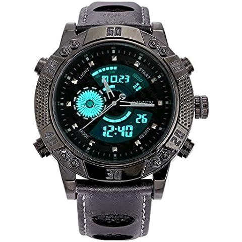 pkaty da uomo Dual Time Analogico Digitale LED Quadrante Grande Multifunzione cinturino in pelle da polso Watch-Black