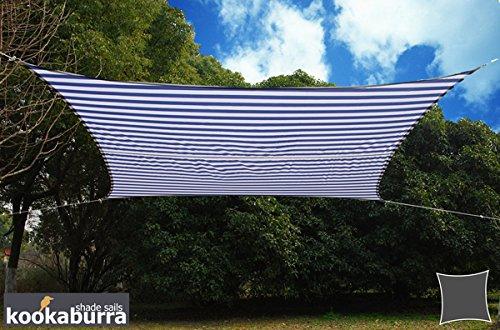 Kookaburra Sonnensegel, wasserdicht, im Streifendesign, Weiß / Blau
