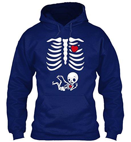 n / Herren / Unisex M PREGNANT HALLOWEEN T-SHIRTS - X-RAY SKEL Marineblau (Schwangere Halloween-t-shirts)