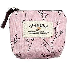 Malloom® nuevo dama chica mujeres pequeño monedero de la lona Zip Wallet Monedero bolso de la moneda monedero de la cartera bolso Llavero (rosa (pink))
