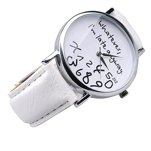 "Mixe ""Whatever, I'm late anyway"" Women's Fashion Analog Digital Quartz Birthday Gift Faux Leather Wristwatch White"