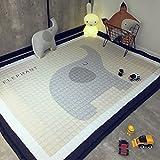 VClife® Teppich 100% Baumwolle Kinderteppich Spielteppich Baby Laufteppich Kinderzimmer Schlafzimmer Wohnzimmer Boden Kinder Geschenk Steppen Weich 145x190cm Elefant