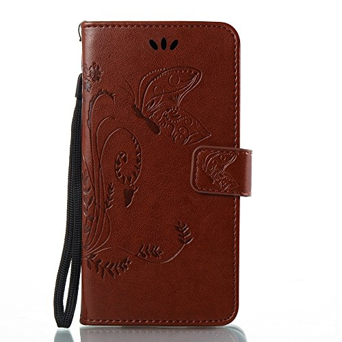 Solid Color Faux Leder Bookstyle Brieftasche Stand Case mit geprägten Blumen & Lanyard & Card Slots für LG G6 ( Color : Coffee ) Brown