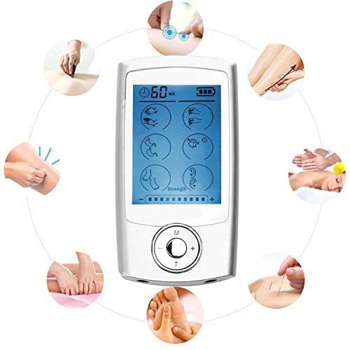 16 Modos 6 Almohadillas Electroestimulador TENS EMS Masajeador Recargable Electrodo Estimulador de Acupuntura Para La Terapia Física Mini Masajeador para Tratar el Estrés del Cuello Dolor Ciático Alivio del Muscular -Duomishu