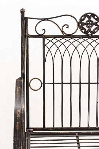 CLP Metall Gartenbank PURUSHA, 2-Sitzer, Landhaus-Stil, Eisen lackiert, Design nostalgisch Bronze - 5