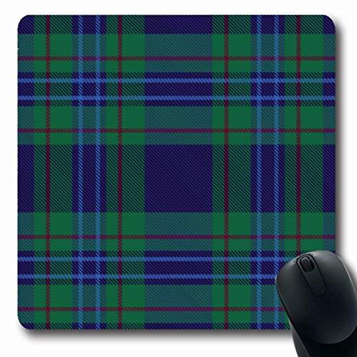 Schottische Tartan-plaid (Mousepad Längliches schottisches blaues Grün-Plaid-Tartan-Muster Kariertes geometrisches Kilt-Entwurfs-Retro Büro-Computer-Laptop-Notizbuch-Mausunterlage, Rutschfester Gummi,Gummimatte 11,8