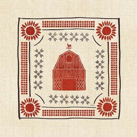 Feeling-at-home-Kunstdruck-Little-Red-Farm-Tile-I-cm43x43-Poster-fuer-Rahmen -
