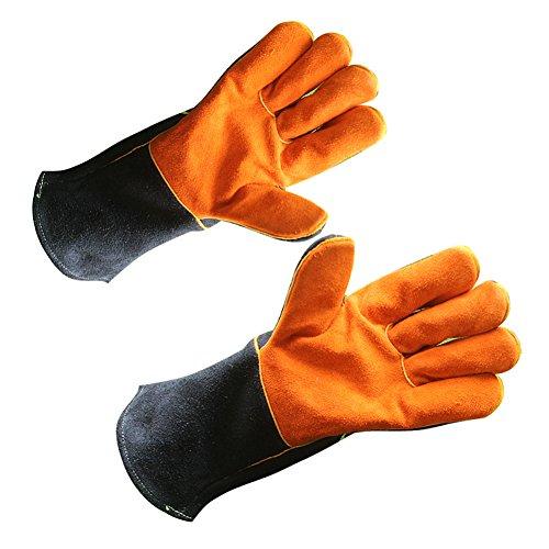 LAIABOR Rindleder Grillhandschuhe/Kamin/Küche Hohe Temperaturbeständigkeit Handschuh/Outdoor BBQ...