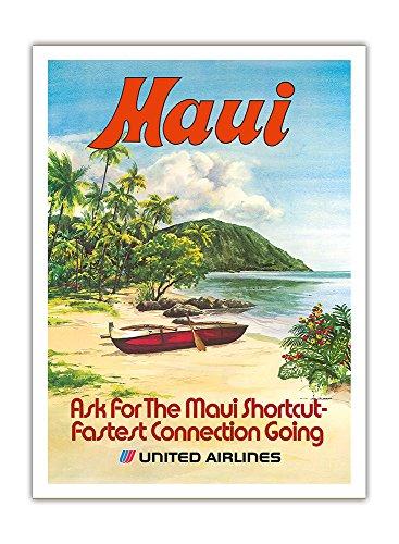 Hawaii United Airlines (Maui, Hawaii - United Airlines - Hawaiisch Ausleger-Kanu (Wa'a) - Vintage Retro Hawaii Reise Plakat Poster von Hollenbeck c.1970s - Premium 290gsm Giclée Kunstdruck - 30.5cm x 41cm)