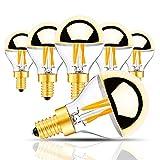 Lampadina a LED a 4 Watt in oro a metà oro, G45 / G14 Lampadina a filamento a LED Golden Bowl E14 Lampadina a base di candelabri 40 Watt Equal Bianco caldo 2700K Non dimmerabile a 6 pezzi