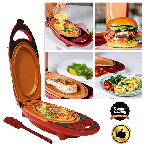 Non Stick Omelette Maker Pan,750W 5 Minute Chef,Environmentally Friendly Materials,Fried & Scrambled Eggs,Steak/Pizza/Burgers,Ceramic Surface