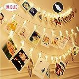 GuoLian 3M 30LED Luz de la cadena con Clip de foto, impermeables Ip-54 pinza de tira de Luces, sin baterías con fuente de alimentación Cargador de puerto USB, clara decoración creativa para sala de estar, bar, jardín, hogar, boda, fiesta de cumpleaños, Navidad