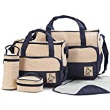 Best Large Diaper Bag - Foolzy 5 Pcs Baby Nappy Changing Bags Set Review