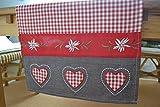 Tischläufer- hübscher Tischläufer rot/beige karierter Grundstoff mit roter und brauner Borte- Länge 150 x 40 cm - Landhausstil