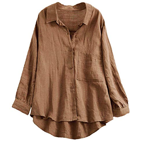 Jersey Langarm-bluse (Overdose Casual Frauen Stehkragen Langarm beiläufige Lose Tunika Tops T Shirt Bluse Damen Sommer Herbst Langarmshirt Freizeit Oberteile)