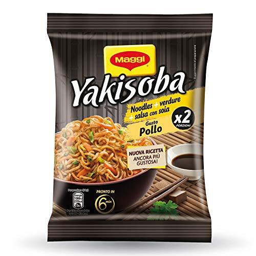 Maggi Yakisoba Gusto Pollo Noodles Istantanei con Verdure e Salsa con Soia, 8 Confezioni da 120 g, 16 Porzioni