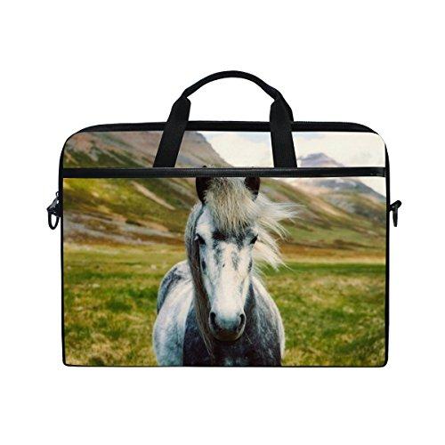 cf2b15641239a Ahomy 14 Zoll Laptoptasche Island Pferd Berg Canvas Stoff Laptop Tasche  Bussiness Handtasche mit Schultergurt für Damen und Herren