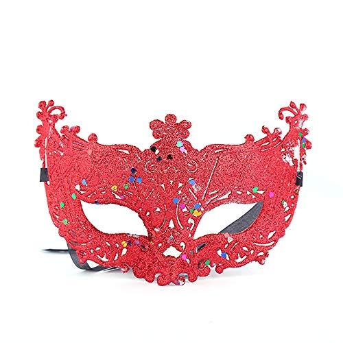 Comfot Damen Sexy Fox Ausgehöhlte Maske Für Halloween Maskerade Ball Frau Kostüm Ball Fancy-Kleid,Red (Red Fox Halloween-kostüm)