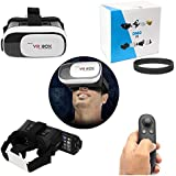 DMG Vr Box 2G Virtual Augmented Reality Cardboard 3D Video Glasses Headset & Virtual Gaming Controller For Android & IOS Smartphones (White)