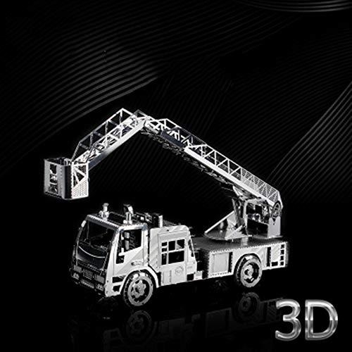 3D dreidimensionale Leiter Feuerwehrauto Metall montiert Modell Spielzeug DIY Laser geschnittene Puzzle Spielzeug Silber + Werkzeug A Einheitsgröße