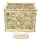 Folewr-8 Rétro Urne Mariage en Bois -DIY Boite Carte Mariage Décoration De Mariage - Rose
