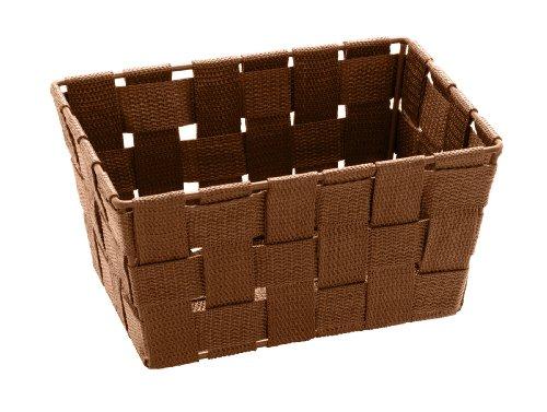 WENKO 20686100 Aufbewahrungskorb Adria Mini Braun, Badkorb, rechteckig, Kunststoff-Geflecht, Polypropylen, 19 x 9 x 14 cm, Braun