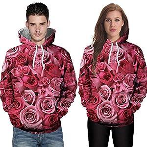 JUSTSELL Langarmshirts Pullover Herren Damen Herbst Winter, Männer Frauen Blumen 3D-Druck Kapuzenpullove mit Kängurutasche Sweatshirt HoodieJacke Tops
