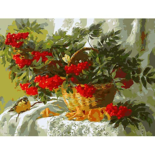 HYDWX Quadri Senza Cornice Dipinto con Numeri Dipinto a Mano Soggiorno Dipinto terrestre Natura Morta Cestino di Frutta 40x50cm