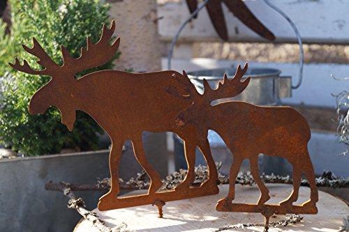Dekostüberl Edelrost Elche mit Schraubgewinde Garten Holz Bausatz Set Metall Tierfigur
