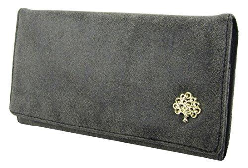 Kukubird Morbida Ecopelle Con Frontale In Metallo Albero Abbellimento Dettaglio Ladies Borsa Clutch Wallet Black