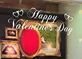 vintage cap Happy Valentines White Script Window Sticker. Valentine's Window Stickers by