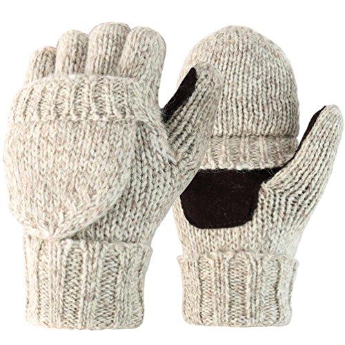 Novawo Wollmischung Strick Cabrio Isoliert Fingerless Handschuhe mit Fäustlinge Abdeckung