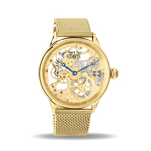 Davis 0895MB - Mens Skeleton Watch Yellow Gold Hand wind Mechanical Movement Mesh Milanese Strap