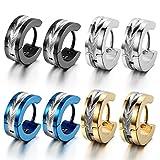 Oidea Orecchini per Uomo orecchini rotondi in acciaio inox modello fiori blu nero oro argento(4 coppie) Regalo Perfetto