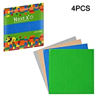 NextX 4-Pack Classic Baseplate Compatible with Major Brand Bricks Set Building Toys 10