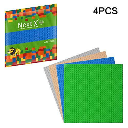NextX 4 Stück Bauplatte für Classic Bausteine Plastik Grundplatte 25 x 25 cm - Grün+Blau+Grau+Sand Weihnachtsgeschenk -