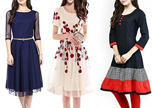 Market Magic World Women\'s Multicolor Western Wear Kurtis-Kurtas Combo Pack Of 3