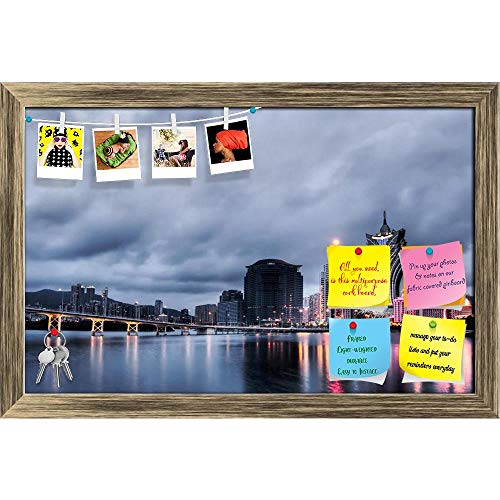 Artzfolio Macao Cityscape With Casino Skyscraper, China Printed Bulletin Board Notice Pin Board | Antique Golden Frame 18.3 X 12Inch