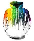 EOWJEED Unisex Realistische 3D Druck Galaxy Pullover Kapuzen Sweatshirt Kapuzenpullis mit großen Taschen