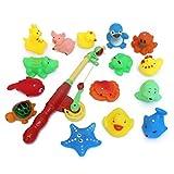Axibo Bad-Fischen-Spielzeug 15 PCS mit genießen Sie Bad Funtime Fischen-Spiel Großes Geschenk für Jungen-Mädchen für 3 Jahre Alte frühe Ausbildung Fischen-Spielzeug Magnetisch