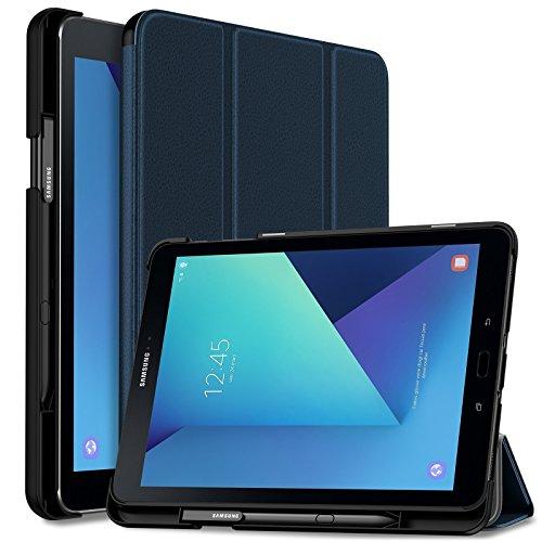 Infiland Samsung Galaxy Tab S3 9.7 Hülle,Ultra Superleicht Schutzhülle Case Tasche mit Auto Schlaf/Wach Funktion und S Pen Halter für Galaxy Tab S3 T820 / T825 (9,68 Zoll) Tablet-PC(Dunkleblau)