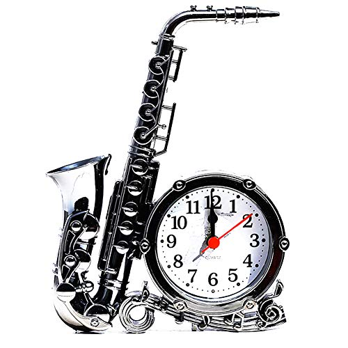 Jushi Saxophon-Form-Wecker Retro Tabletop Uhr Saxophon Modell Ornament Tischdekoration