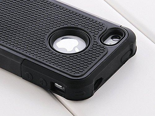 iPhone 5 Hülle Se Huelle Stoßfest Handy Schutzhülle Stoßgedämpfter Extraharte Tasche Silikon Gel Hybrid Armor Cover Case Etui für iPhone 5 S - Schwarz Schwarz